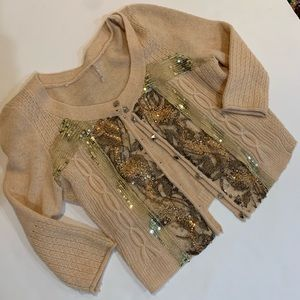 Free People cropped sequins & studs cardigan small